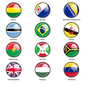 Set circle icon  Flags of world sovereign states Vector illustration