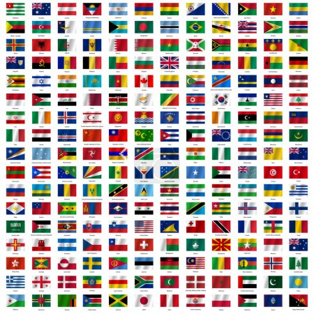 Flags of the world and  map on white background. V...