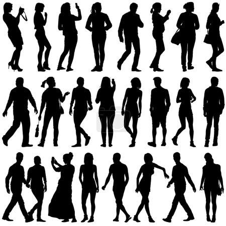 Schwarze Silhouetten schöner Männer und Frauen auf weißem Hintergrund