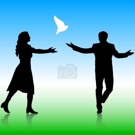Silhouetten Mädchen und Kerl ließen Tauben in den Himmel steigen. Vektorkrank