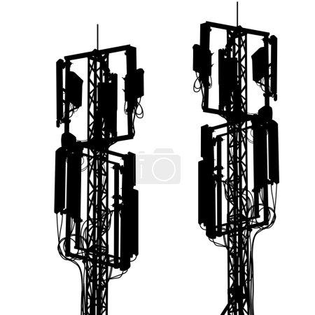 Silhouette mast antenna mobile communications. Vector illustrati