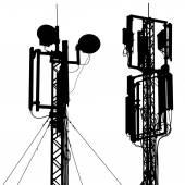 Silhouette mast antenna mobile communications Vector illustrati
