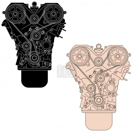 Internal combustion engine, as seen from in front. Vector illust
