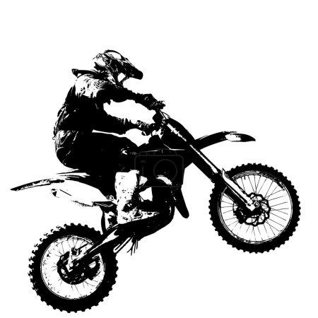 Rider participates motocross championship.  Vector illustration.