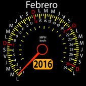 2016 year calendar speedometer car in Spanish, February. Vector