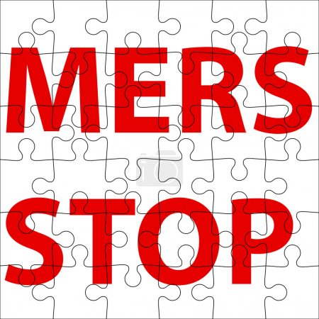 Background  puzzle Stop Mers Corona Virus sign.  Vector Illustra