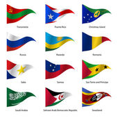 Set  Flags of world sovereign states triangular shaped Vector illustration