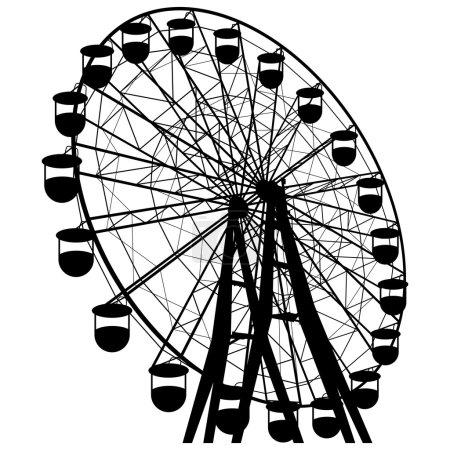 Silhouette atraktsion colorful ferris wheel. Vecto...