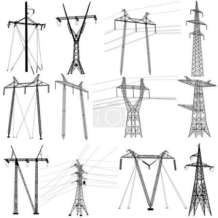 Set electricity transmission power lines. Vector illustration