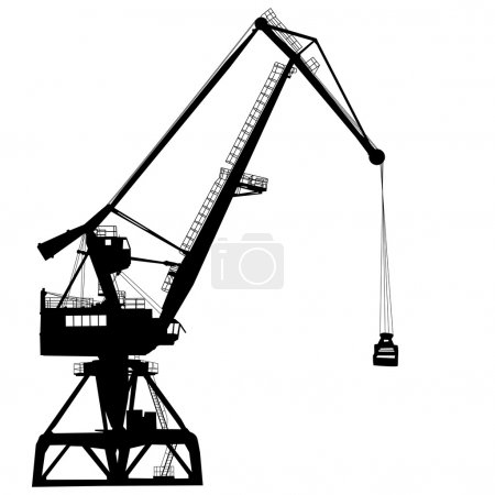 Working crane in sea port for cargo industry design. Vector illustration