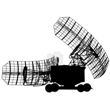 Illustration for Silhouette  military radar dish. Vector illustration - Royalty Free Image