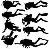 Set black silhouette scuba divers Vector illustration