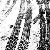 Grunge background with black tire track Vector illustration