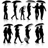 Black silhouettes man and woman under umbrella Vector illustrations