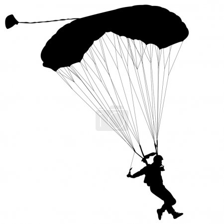 The Skydiver, silhouettes parachuting a vector ill...