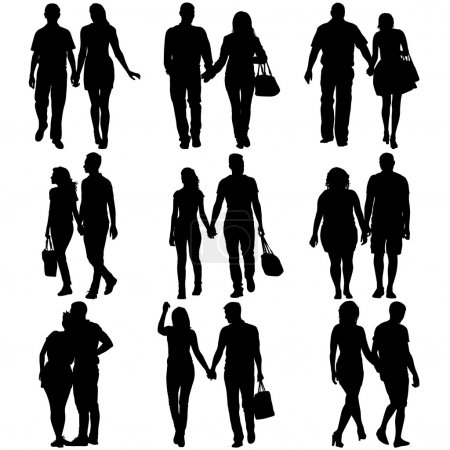 paaren Mann und Frau Silhouetten auf weißem Hintergrund. Vektorillustration