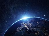 Planeta země z vesmíru v noci