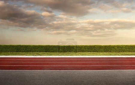 Empty running track for the background with copy space
