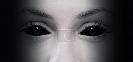 Halloween concept, close up of evil female eyes...