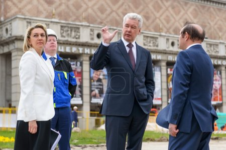 Moscow Mayor S. Sobyanin visits the Triumph Square, Moscow