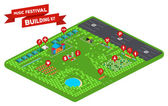 Huge set of everything you need to design your own music festival - stages facilities tent camp trees lake fences parking lot and so on