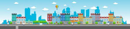 Illustration for Long city street with various urban buildings, houses, shops, cafes, trees and facilities. - Royalty Free Image