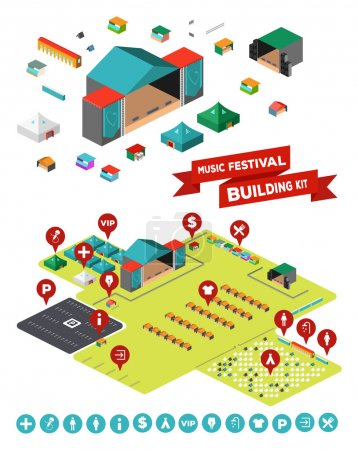 Illustration pour Enorme ensemble de tout ce dont vous avez besoin pour concevoir votre propre festival de musique - scènes, installations, camp de tente, clôtures, parking et ainsi de suite - image libre de droit