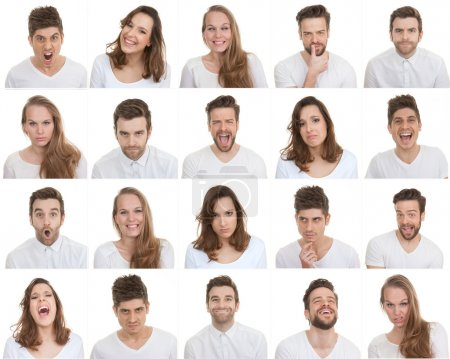 Photo for Set of different male and female faces, facial expressions - Royalty Free Image