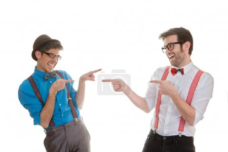Photo for Quirky humorous, funny business men pointing - Royalty Free Image