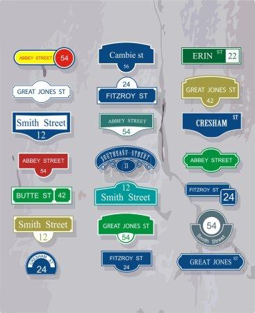 Illustration pour Ensemble de tables pour les noms et la numération des rues - image libre de droit