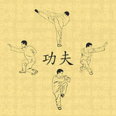 Illustration four men are engaged in kung fu