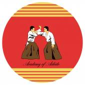 Emblem of aikido two men get busy on a red background