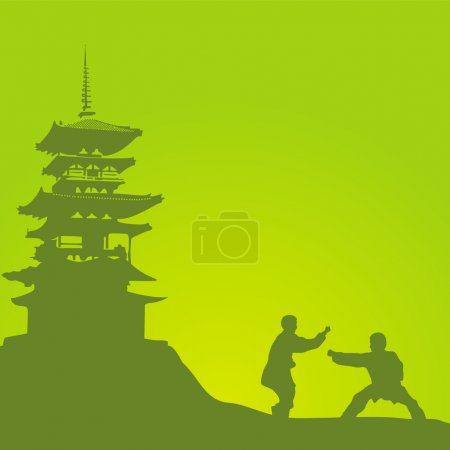 Two men are engaged in a kung fu against the monastery.