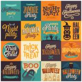 Halloween emblems set Vector illustration