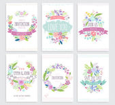 Romantic Floral hand drawn card set Vector illustration