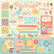 Summer scrapbook set - decorative elements. Vector...