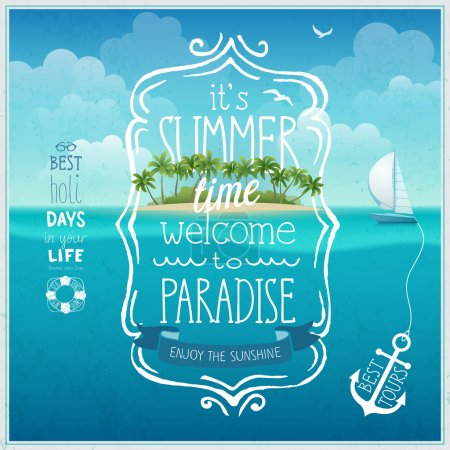 Summer time poster with tropical island and underw...