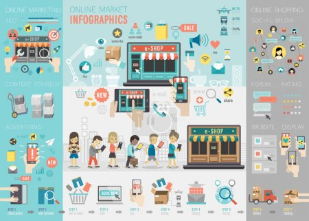 Illustration for Online Market Infographic set with charts and other elements. Vector illustration. - Royalty Free Image