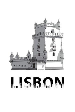 The sketch of Belem Tower  in Lisbon