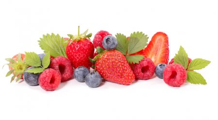 Photo for Fresh sweet assorted berries isolated on white - Royalty Free Image