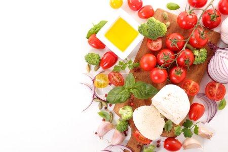 tomatoes, mozzarella and basil