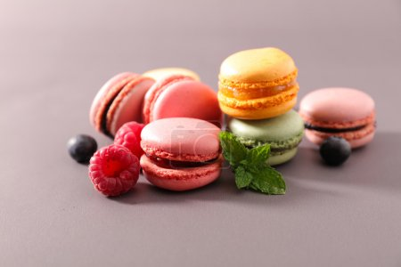 Photo for Sweet french macaroons, colorful dessert - Royalty Free Image