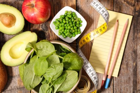 Photo for Diet food concept. products and measure tape - Royalty Free Image