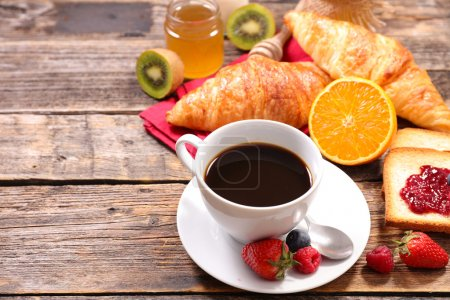 Photo for Composition of breakfast with coffee, fruits, croissants - Royalty Free Image