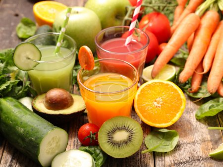 Photo for Fruits and vegetables juices, smoothies collection - Royalty Free Image