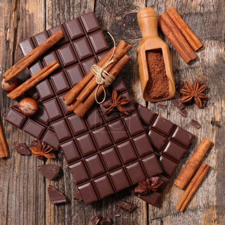 chocolate bars and spices