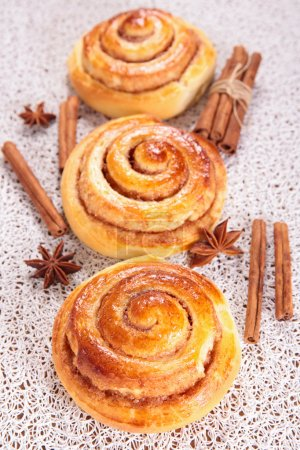 Photo for Christmas cinnamon rolls with spices - Royalty Free Image