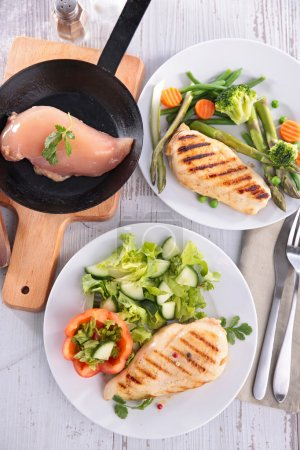 Chicken breast and salad
