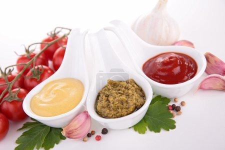 Mustard,ketchup and pesto sauce