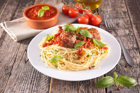 Photo for Tasty spaghetti and meatballs on plate - Royalty Free Image